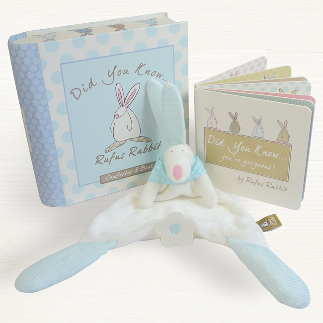 Baby Boy Gifts Toys : Baby boy comforter book gift set rufus rabbit