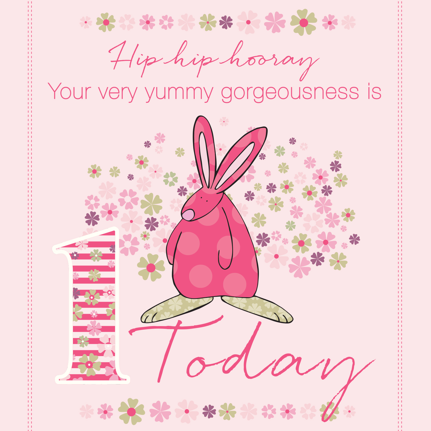 Girl Age 1 Birthday Card By Rufus Rabbit. Lovely Cards For