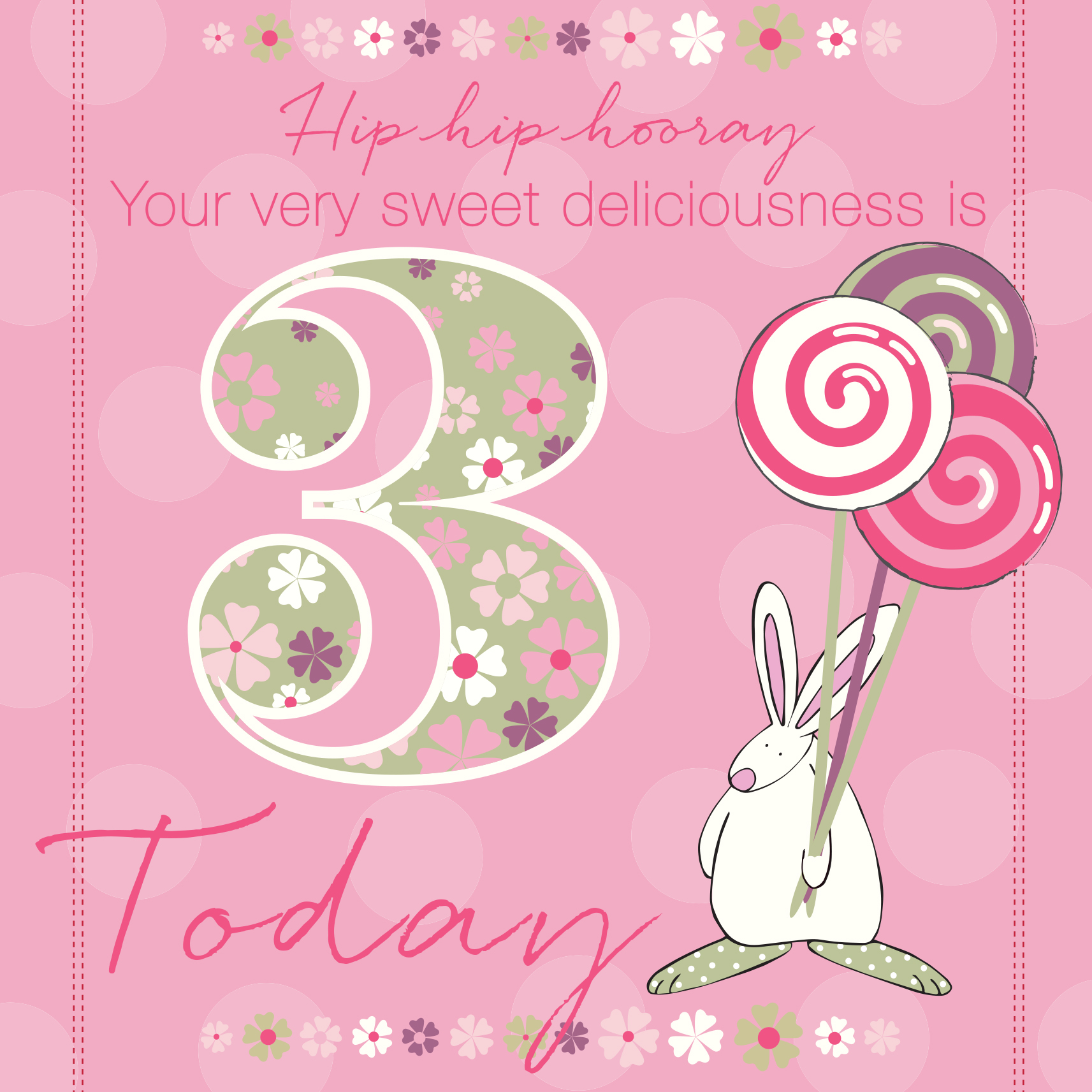 Girl Age 3 Birthday Card Rufus Rabbit – Birthday Cards for Girl